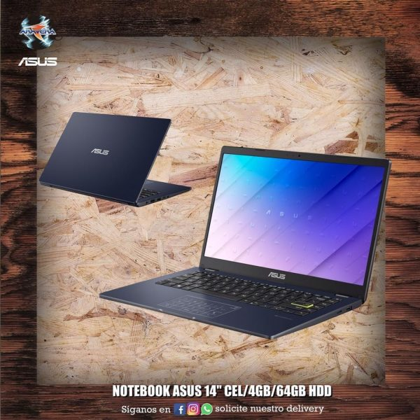 """Notebook Asus 14"""" cel/4gb/64gb hdd/w10 E410M 💻🤩"""