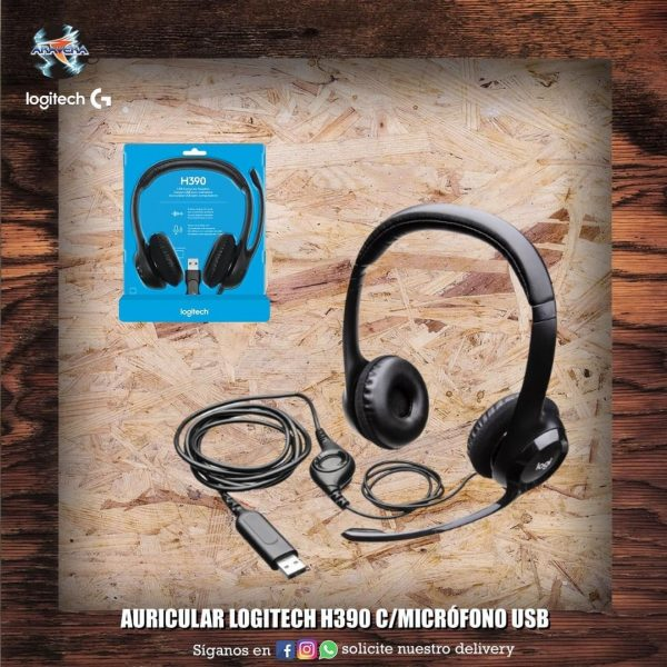 Auricular Logitech H390 C/micr贸fono USB 馃摬馃摫